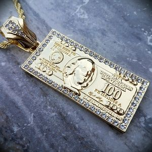 """14k Gold Plated 24"""" Icy 100 dollar Bill Necklace"""